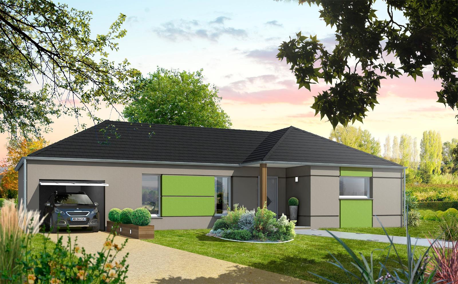 Maison de Plain Pied de 95 m2 avec Garage - 3 Chambres - Compagnons Constructeurs